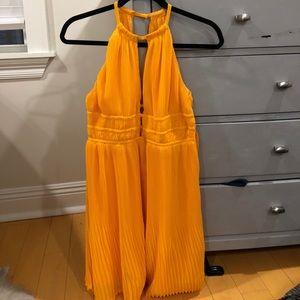 US 8 H&M Orange Pleated Halter Dress